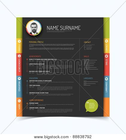 Vector minimalist cv / resume template - color version with a profile photo - dark gray background