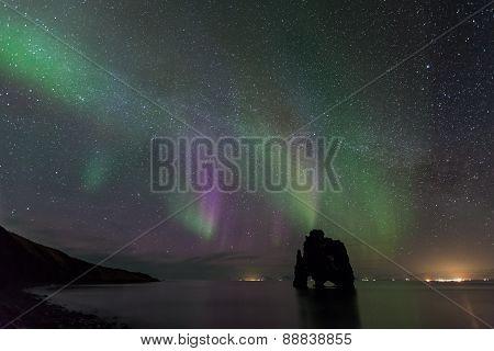 Northern Light At Hvitserkur, Iceland