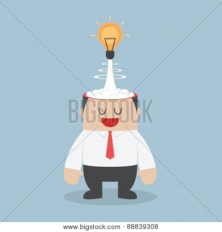 Light Bulb Of Idea Exploding From Businessman Head