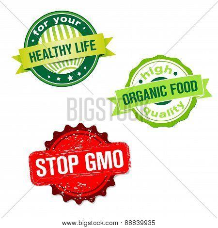 Set Of Labels - Bio Organic Food Theme