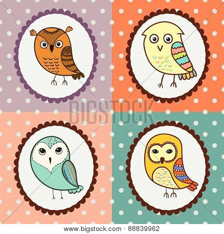 Set of 4 cute owls. Colorful birds doodle collection.