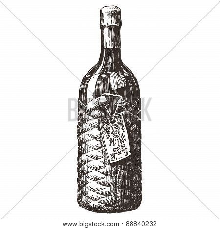 the bottle of wine on a white background. sketch