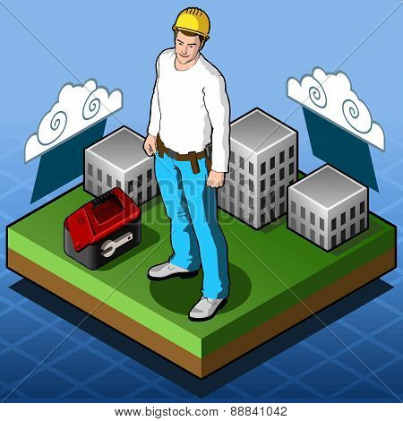 Isometric Infographic Hard Hat - Home Builder - Tile