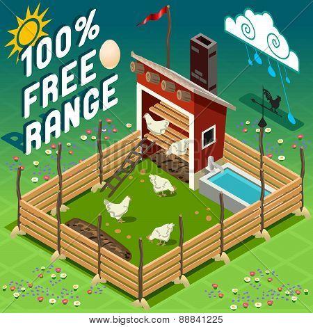 Isometric Henhouse Free Range Farming