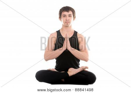 Lotus Posture With Palms In Namaste