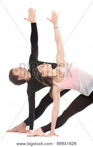 Yoga With Partner, Extended Triangle Pose, Close-up