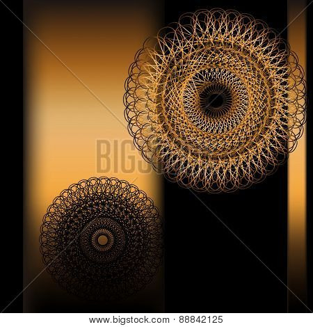 Vector illustration with round gold ornament