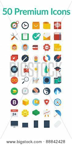 50 Premium Media Icons, Web Icons, Arrow Icons, Setting Icons, Cloud Icons, Finance Icons, Mobile Ic