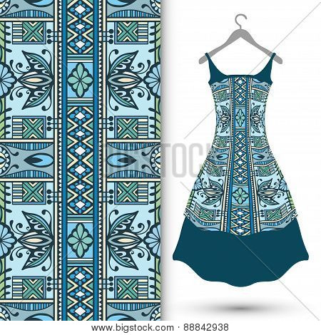 Fashion seamless geometric pattern, women's dress on a hanger, invitation card design.