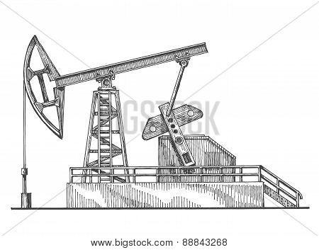 oil rocking, oil pump on a white background. sketch