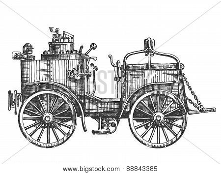 steam car on a white background. sketch