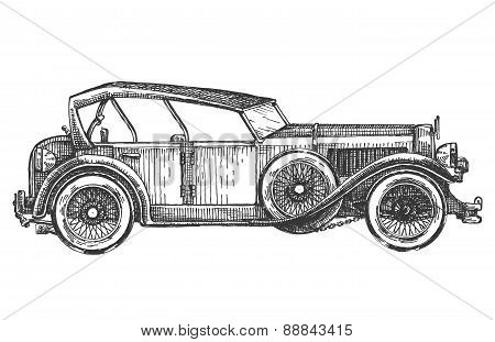 vintage car on a white background. sketch, illustration