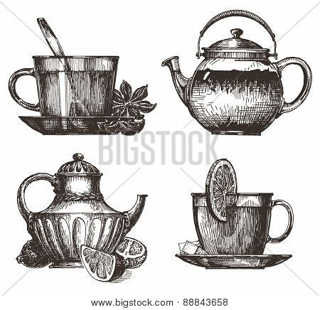 coffee and tea on a white background. illustration. sketch
