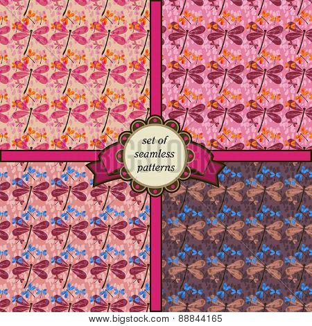Set Of Seamless Patterns With Dragonfly