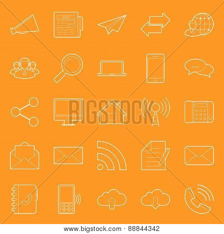 Comunication And Web Thin Lines Icons Set