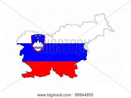 Slovenia Flag Map