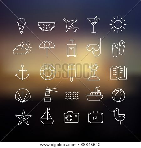 Collection of icons representing summer, travel, sea, beaches and relax on a blurred background. Modern, thin lines style.