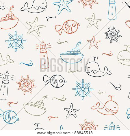 Seamless pattern with doodles representing summer, sea and relaxing on the beach. Can be used as a wallpaper - both in print or web.