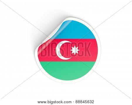 Round Sticker With Flag Of Azerbaijan
