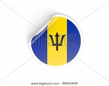 Round Sticker With Flag Of Barbados