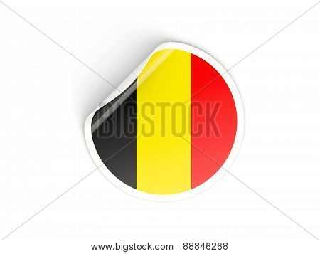 Round Sticker With Flag Of Belgium
