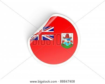 Round Sticker With Flag Of Bermuda
