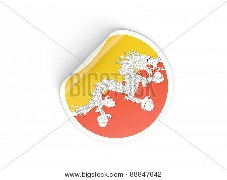 Round Sticker With Flag Of Bhutan