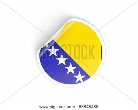 Round Sticker With Flag Of Bosnia And Herzegovina