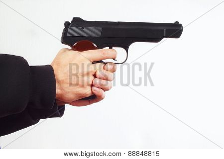 Hands with semi-automatic army gun on white background