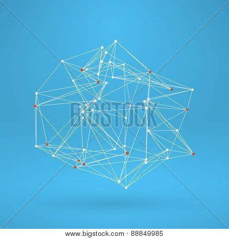 Wireframe Polygonal Element. Abstract 3D Object With Thin Lines
