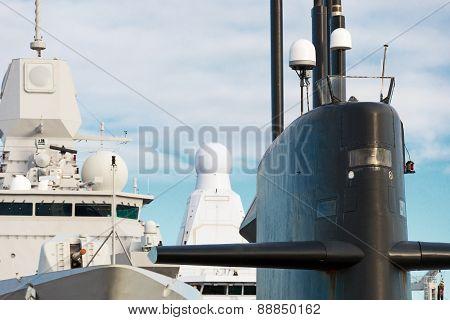Naval Fleet. Submarine And Warships With Guns.