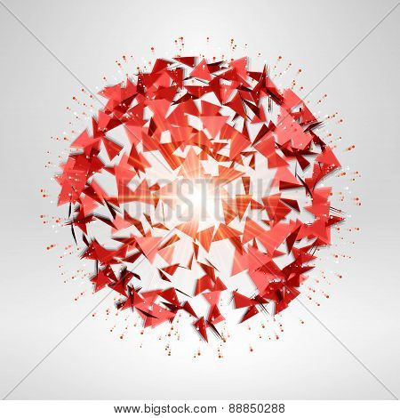 Wireframe Polygonal Element. Explosion Of Red 3D Sphere