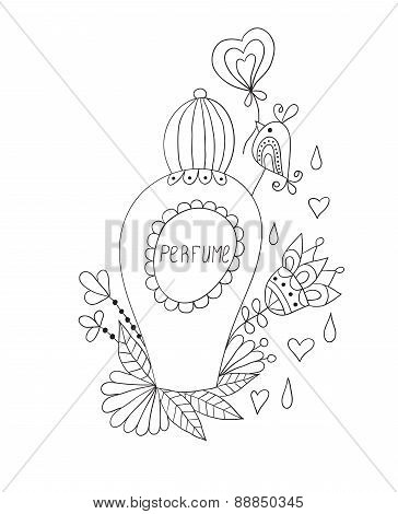 Perfume bottle with flower patterns.