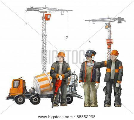 Builders on the building site. Industrial illustration with workers, cranes and concrete mixer machi