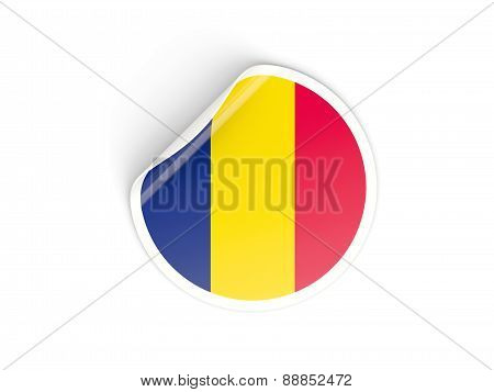 Round Sticker With Flag Of Chad