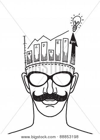 Hand Drawn Illustration Of Man Thinking