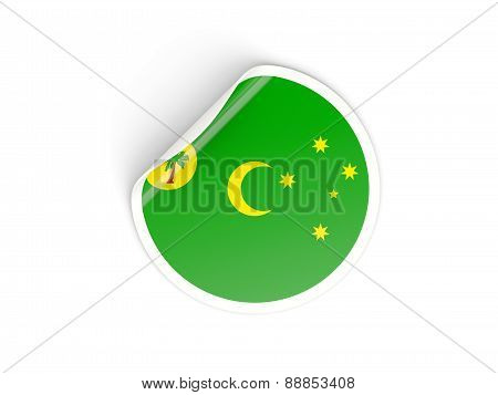 Round Sticker With Flag Of Cocos Islands
