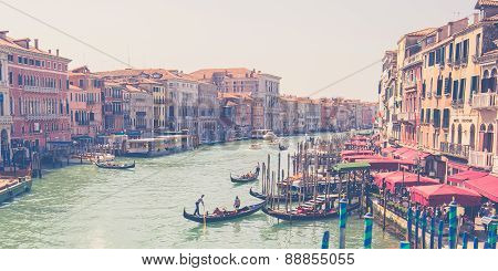 Grand Canal In Venice With Vintage Filtered