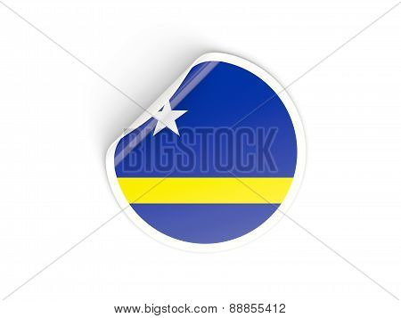 Round Sticker With Flag Of Curacao