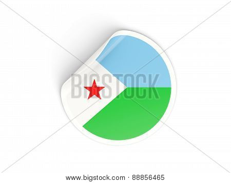 Round Sticker With Flag Of Djibouti