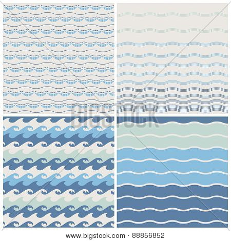 Set of sea wave. Seamless patterns in white, turquoise and dark blue colors. Vector illustration.
