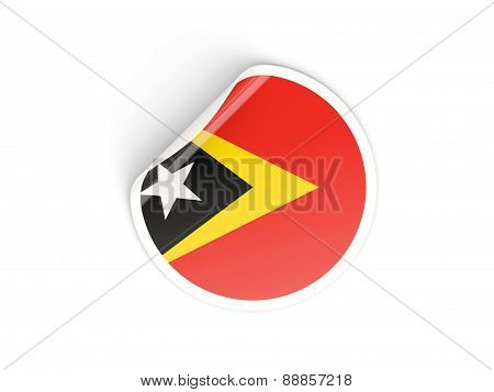 Round Sticker With Flag Of East Timor