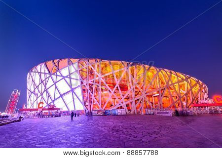 Beijing - March 28, 2015 : Beijing National Stadium - The Bird's Nest At Night, In The Beijing Olymp