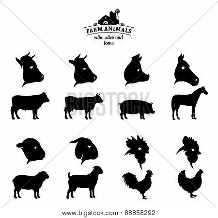 Vector Farm Animals Silhouettes and Icons Isolated on White