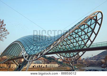 The Bridge of Peace - suspended pedestrian bridge over the Kura River. Tbilisi