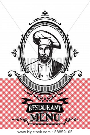 Template For A Restaurant Menu With The Chef And Cloth
