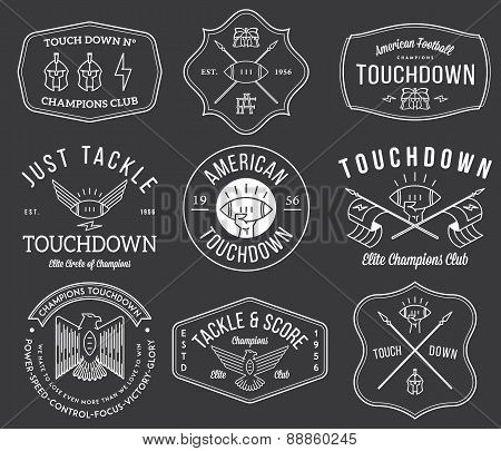American Football Badges And Crests Vol 2 White On Black