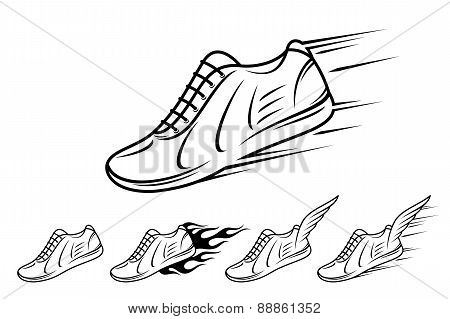 Running shoe icons with speed, motion and fire trails