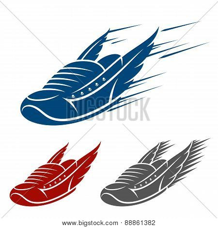Running winged shoe icons with speed and motion trails
