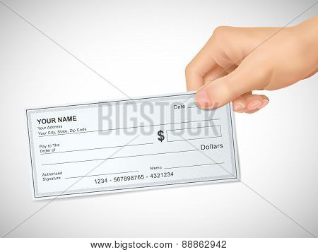 Business Concept: 3D Hand Holding A Check